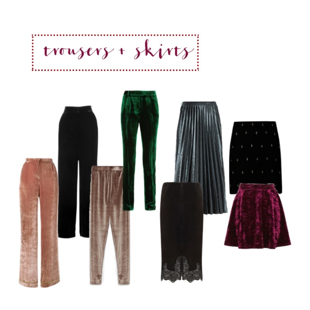 Velvet trousers + skirts