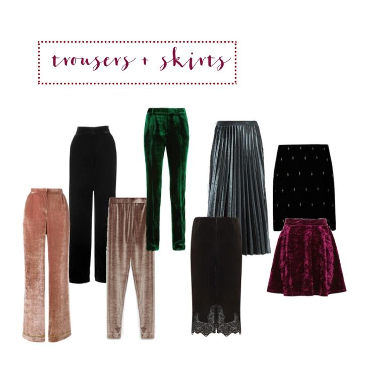 Velvet trousers + skirts
